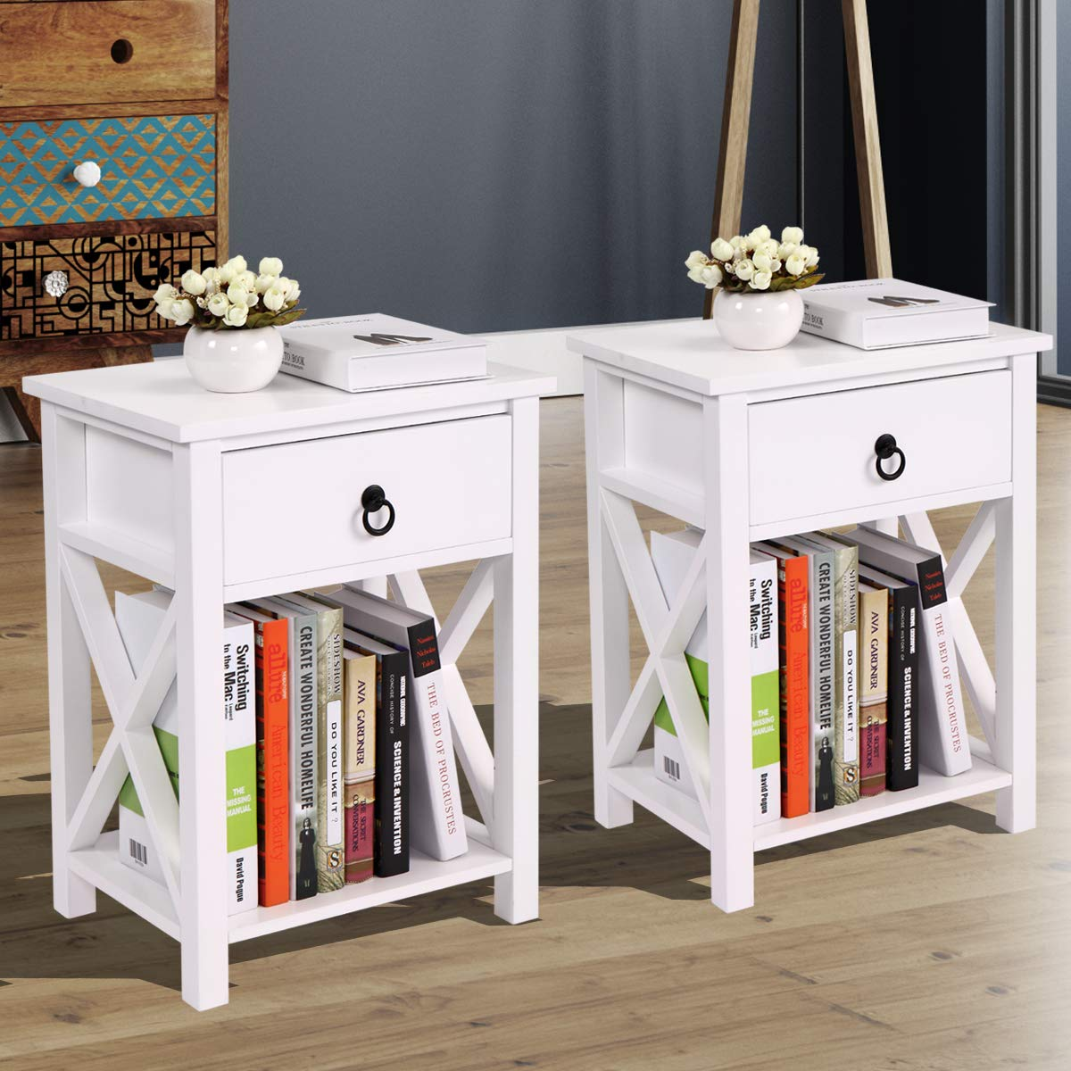 JAXSUNNY Set of 2 End Table Side Table Wooden X- Shaped Nightstand with Drawer and Storage Shelf, White Night Stand by JAXSUNNY