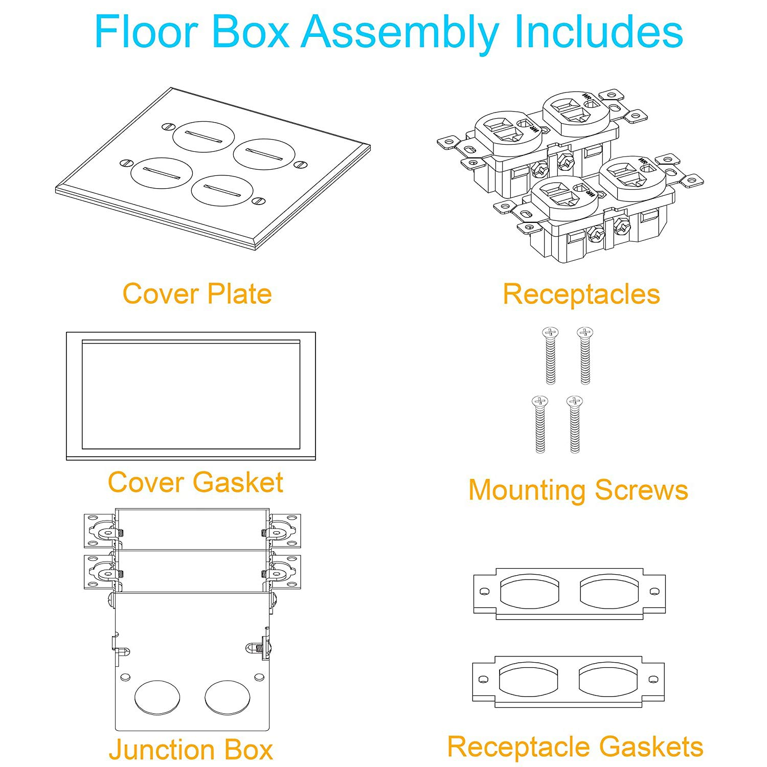 2-Gang Square Floor Box Kit Stainless Steel Screw-In Cover 15A TR Duplex Outlets