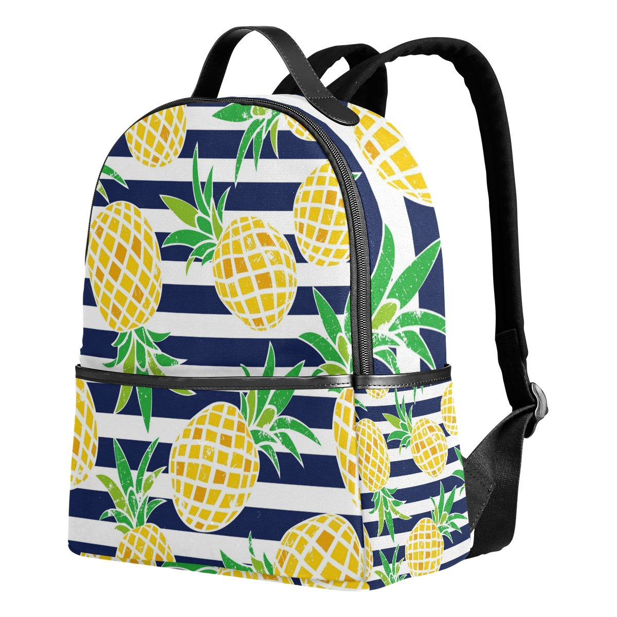 Use4 Striped Pineapple Fruit Retro Polyester Backpack School Travel Bag