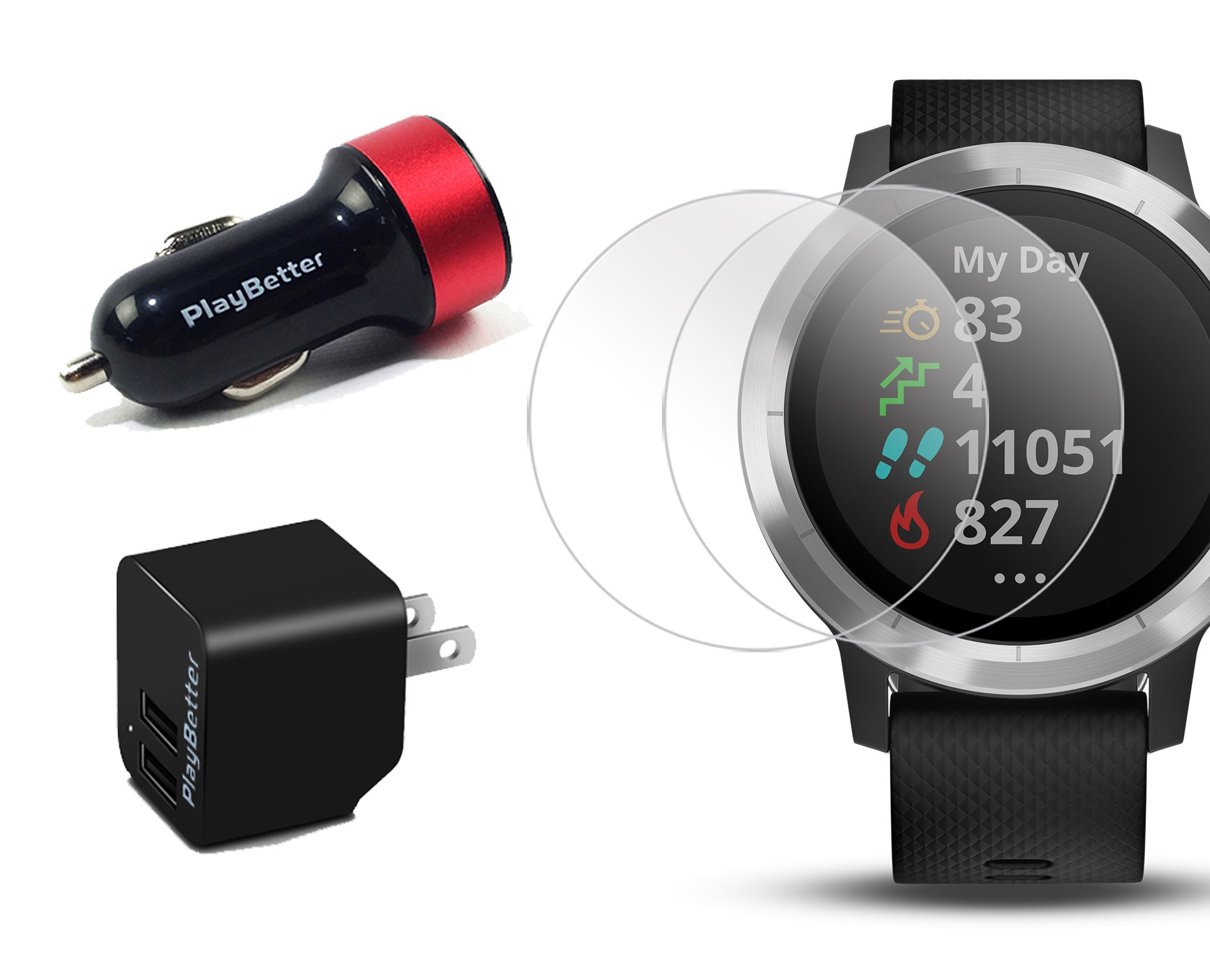 Garmin vivoactive 3 (Black/Stainless) Power Bundle with HD Glass Screen Protectors (x2), PlayBetter USB Wall & Car Charging Adapters | Multisport GPS Smartwatch, Touchscreen, On-Wrist HR, Garmin Pay by PlayBetter (Image #6)