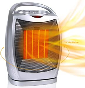 Oscillating Portable Ceramic Space Heater, 750/1500W Electric Heater with Thermostat Overheat Protection & Tip-Over Protection, Personal Heater with Carrying Handle for Home Office