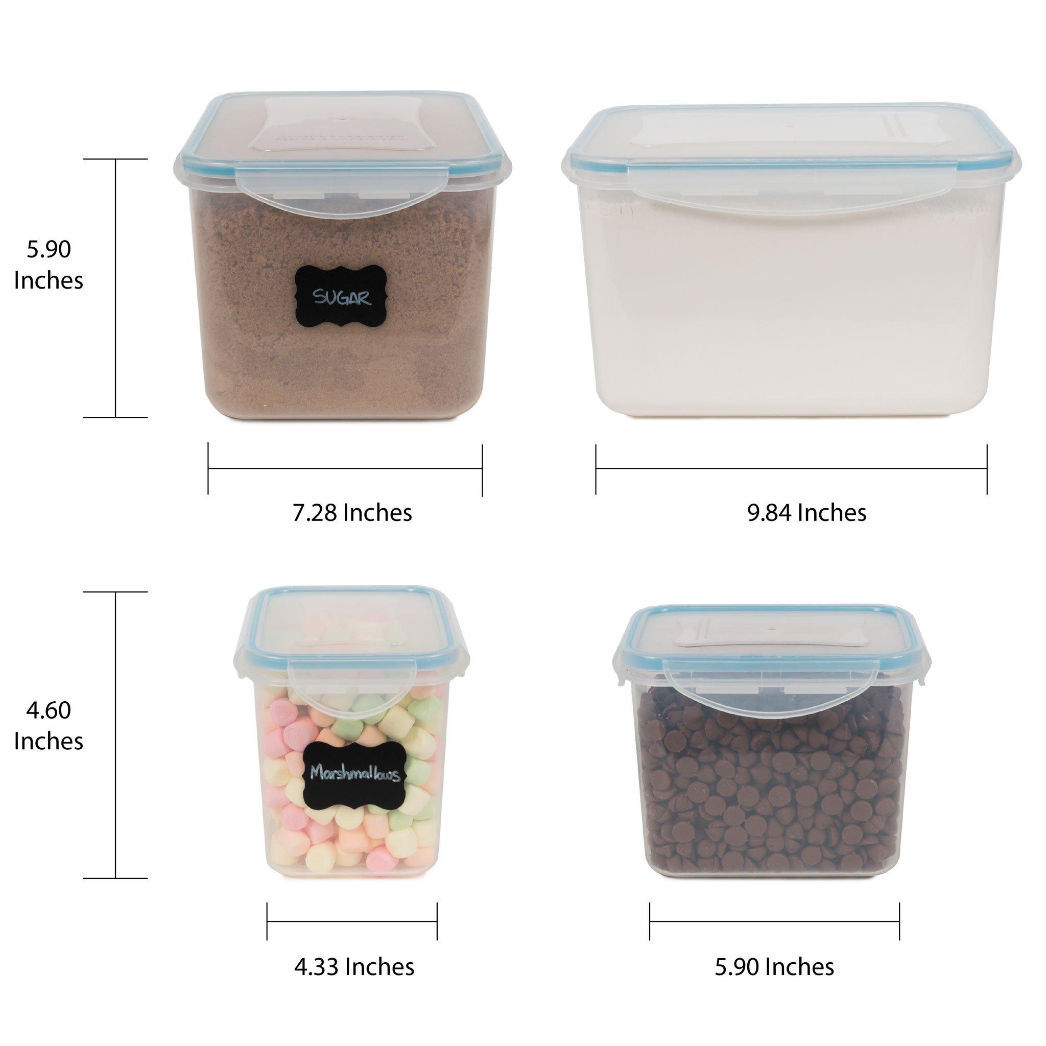 Gabmi Airtight Large Food Storage Containers   Set Of 6   Ideal For Flour,  Sugar, Baking Supplies   Bulk Pantry Food Storage U0026 Kitchen Container    Bonus 2 ½ ...