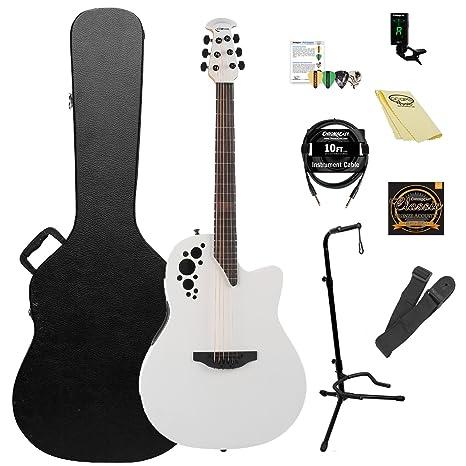 Ovation Elite TX AA Sólido abeto superior guitarra electroacústica Kit con ChromaCast accesorios), color