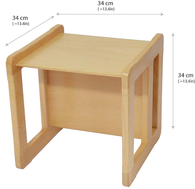 Obique 3 en 1/ Mobilier/pour Enfants une Petite/Chaise/ou/Table/Multifonctionelle en/Bois/de H/être,/Vernis Naturel