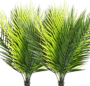 2 Pcs Artificial Palm Leaves Plants Faux Palm Fronds Tropical Large Palm Leaves Greenery Plant for Home Garden Hawaiian Party Jungle Party Decoration