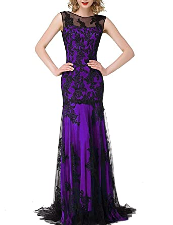 Peprom Mermaid Prom Dresses 2016 Long Formal Evening Party Gowns - Purple - 30 Plus