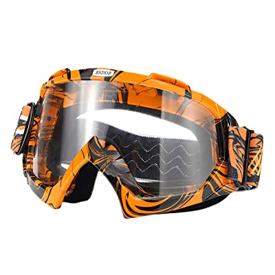 ATV Cycling Goggles Motorcross Motorcycle Safety Glasses for Women Men Youth Shatterproof Anti-UV Dustproof Soft Sponge Padded Dirtbike Racing Snowboard Ski Goggle Orange Black-Clear Lens KG10: Automotive