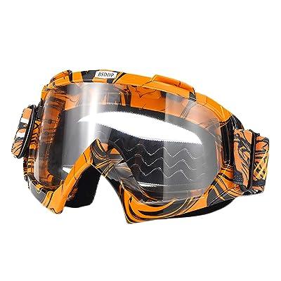 ATV Cycling Goggles Motorcross Motorcycle Safety Glasses for Women Men Youth Shatterproof Anti-UV Dustproof Soft Sponge Padded Dirtbike Racing Snowboard Ski Goggle Orange Black-Clear Lens KG10: Automotive