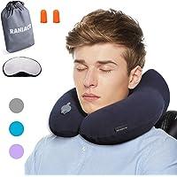 Raniaco Reisekissen, Nackenkissen aufblasbar mit abnehmbar Kissenbezug zur Reinigung, Nackenhörnchen mit Ohrstöpsel Schlafmaske Tasche-Ideal für Flugzeug Reise Camping Auto Bezug