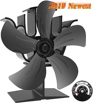 Ventilador Kinden de 4 aspas para estufa de leña/chimenea, negro, ecológico, aumenta el aire caliente un 80 % más que los ventiladores de 2 aspas: Amazon.es: Bricolaje y herramientas