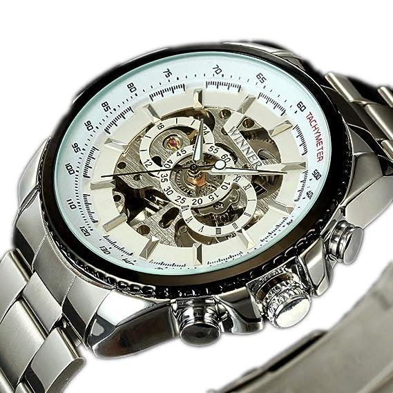 Winner - Reloj de Pulsera para Hombre con Esfera de Acero y Esqueleto automático, manecillas Luminosas: Amazon.es: Relojes
