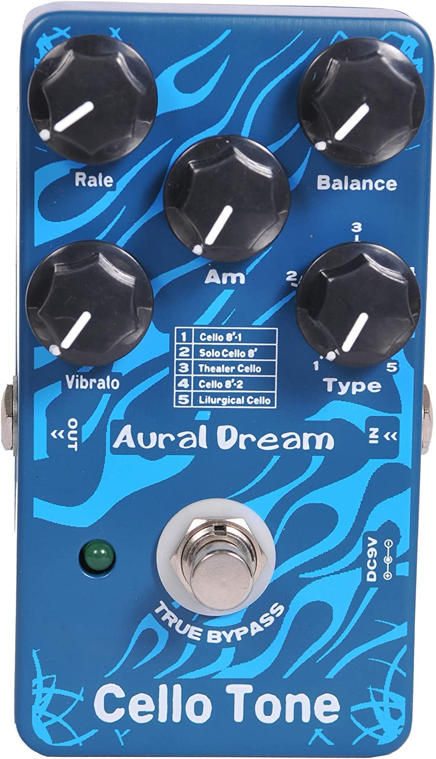 Aural Dream Cello Tone Synthesizer Guitar Effects Pedal based on organ including Cello 8',Theater Cello,Solo Cello 8'and Liturgical Cello with Vibrato and Swell module