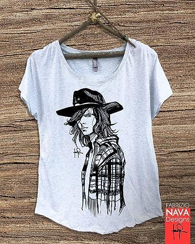 7db3d69c3 Amazon.com: Carl Grimes Portrait Sketch The Walking Dead Women Graphic Tee T -shirt Shirt: Handmade