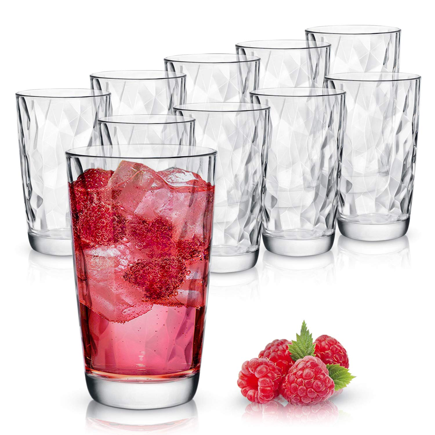 Clear Drinking Glasses Set of 10 | Real Glassware with Heavy Base | 10 Highball Drinkware Tumbler Set For Water, Whiskey, Cocktails | Best Kitchen Gift