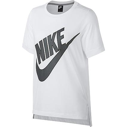 Nike W NSW SS Prep Futura Camiseta, Mujer, Blanco (White/Dark Grey