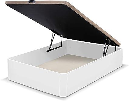 duehome Canapé somier abatible Dormitorio, Base tapizada en Tejido 3D, Beige, Cama de Color Blanco, Modelo Luxury, Medidas: 90 x 190 cm de Largo, MDF