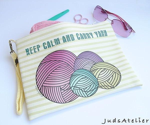Porta lanas para tejedoras, bolso de polipiel de color claro ...