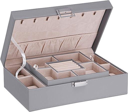 Bewishome SSH07 - Joyero organizador con 4 cajas de reloj extraíbles, bandeja de almacenamiento para joyas, 7 ganchos para collares, forro de terciopelo, estuche para pendientes y pulsera para mujeres y niñas: