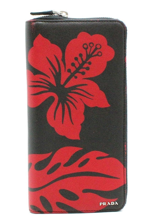 [プラダ] PRADA ラウンドファスナー 長財布 トラベルケース パスポート SAFFIANO PRINT 型押しレザー 黒 ブラック 赤 レッド ハイビスカス 2M1220 B07CLXHBZ3