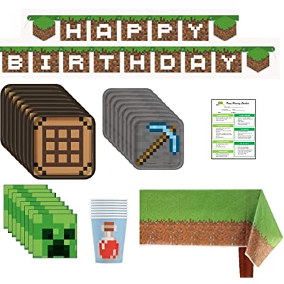 Minecraft Inspired Birthday Party Supplies Pack: Big/Small Plates, Cups, Napkins, Table Cover, Banner - 16 Guests: Toys & Games