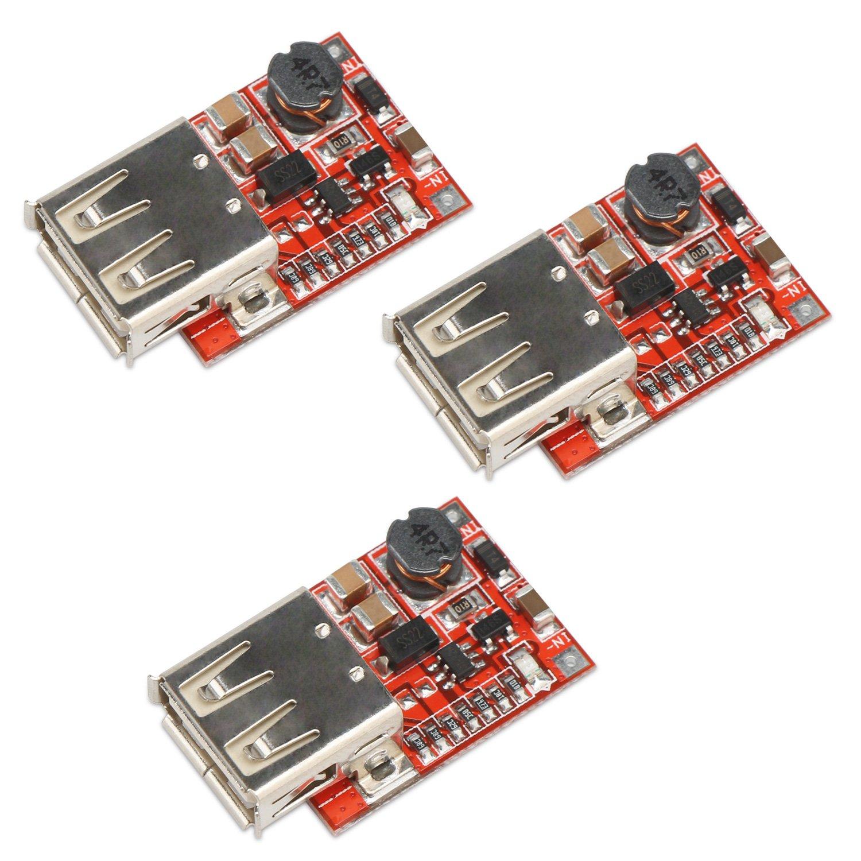 Boost Converter Module, DROK 3pcs USB DC-DC Step up 3V to 5V 1A Convert Voltage Regulator Board for MP3 MP4 Phone Charging