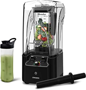 CRANDDI Blender, Quiet Shield Blender, Professional High-Speed Countertop Blender with 2200W Base, 80oz BPA-free Tritan Jar for Family/ Commercial Size Ice Crush, Shakes and Smoothies, Built-in Pulse & 15-speeds Control, K90-B