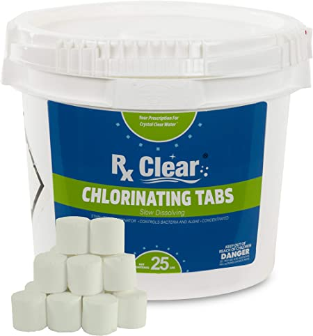 Amazon Com Rx Clear 1 Inch Stabilized Chlorine Tablets Use As Bactericide Algaecide And Disinfectant In Swimming Pools And Spas Slow Dissolving And Uv Protected 25 Lbs Garden Outdoor