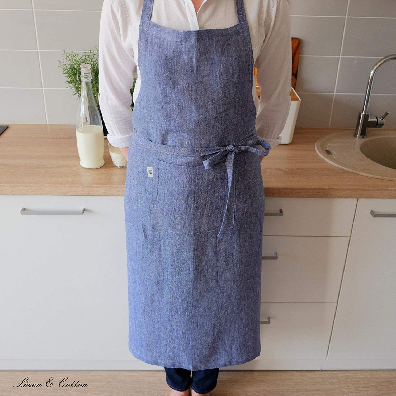 Blu 70 x 100cm 100/% Lino Linen /& Cotton Grembiule da Cucina Evie