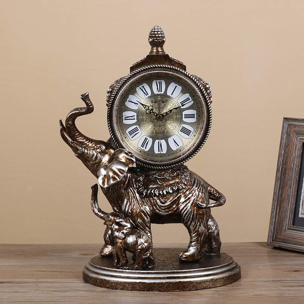LUO Table Clock European Tomboy Clock Vintage Elephant Quartz Clock Resin Living Room Desk Shelf Clock