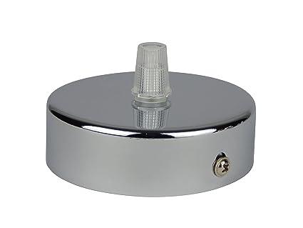 Florón cromo | embellecedor para lámpara de techo, suspensor estándar tamaño m10, 80x25 mm