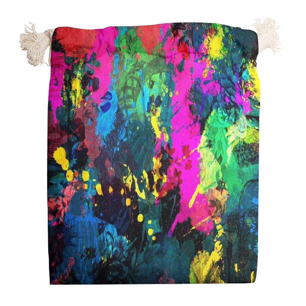 weedlishop Colorful Painting Cotton Storage Bag Double Drawstring Snack Home Reusable FabricTravel Tea Bag Breathable Multipurpose White 1218cm