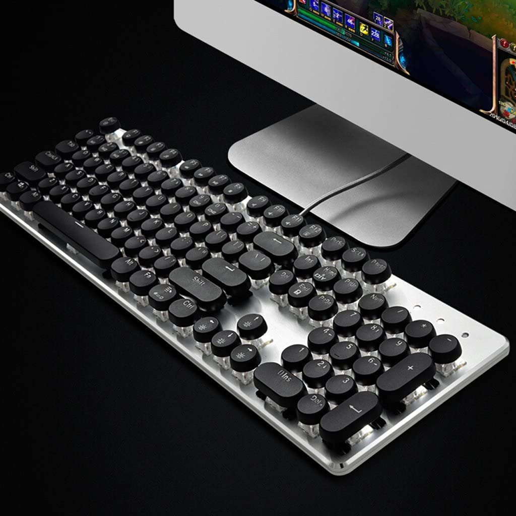 Ergonomic Office Typing Home Programmer Gaming Keyboard Gaming Keyboard XXW Keyboard Second Generation Steampunk Round Keycap USB Cable 104 Key Mechanical Keyboard Color : White