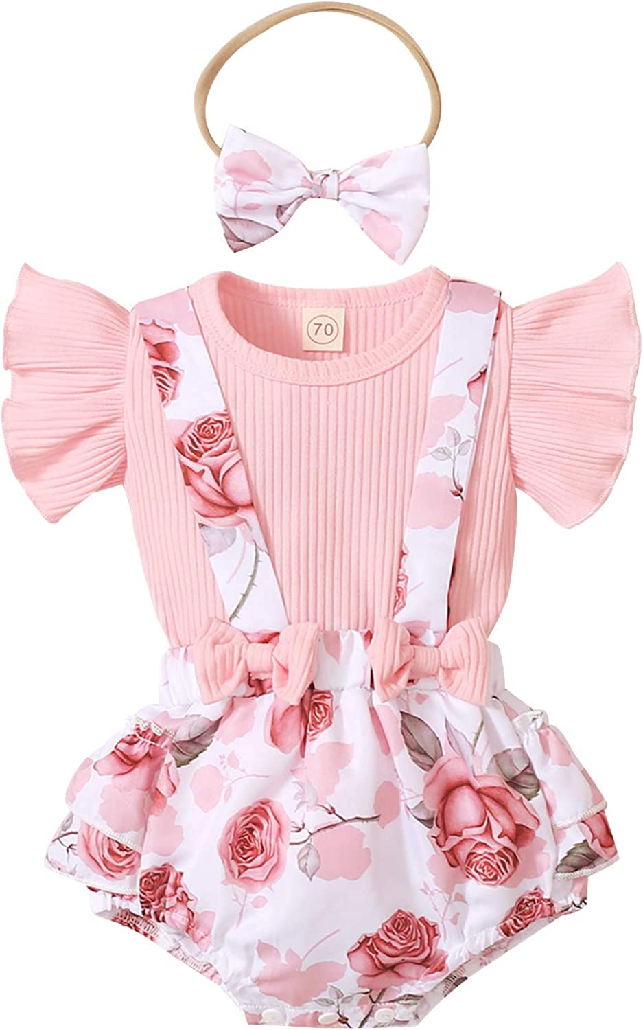Summer Newborn Infant Baby Girl Floral Clothes Outfit Ruffled Flare Sleeve Ribbed Tops Suspender Shorts Set 3PCS