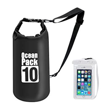 Premium Waterproof Dry Bag with Shoulder Strap - 10L Floating Ocean Pack,  Lightweight Stuff Sack with Cell Phone Bag for Traveling Kayaking Hiking