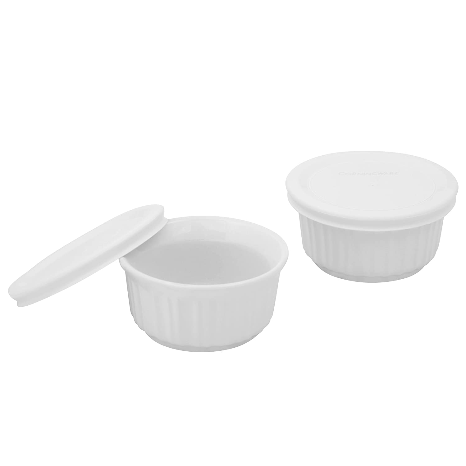 Corningware 1094146 French White 7-Ounce 2-Pack Ramekins with Lids