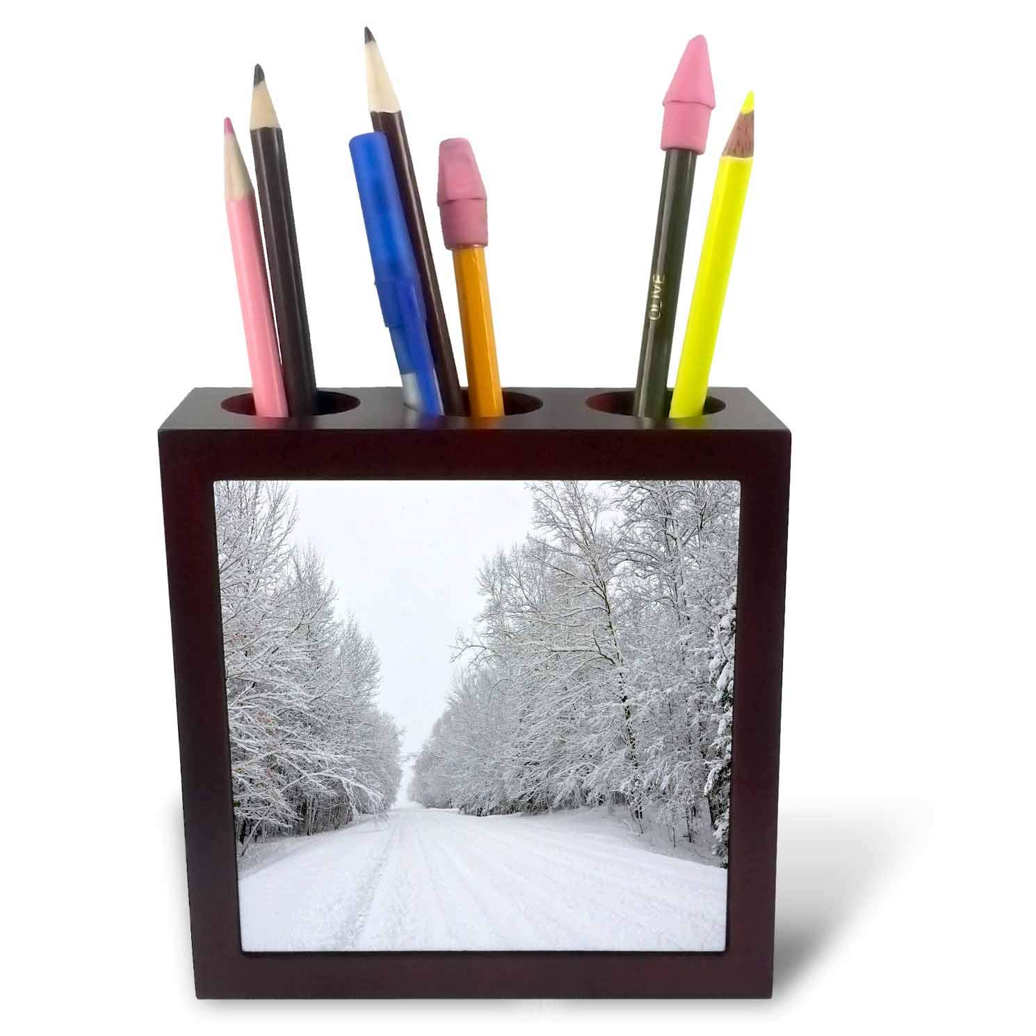 3dRose Dreamscapes by Leslie - Scenery - Country Road After a Snow Storm - 5 inch Tile Pen Holder (ph_292250_1)