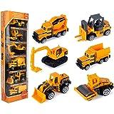JellyDog Inertia Toy Early Engineering Vehicles Friction Powered Kids Dumper, Bulldozers, Forklift, Tank Truck, Asphalt Car a
