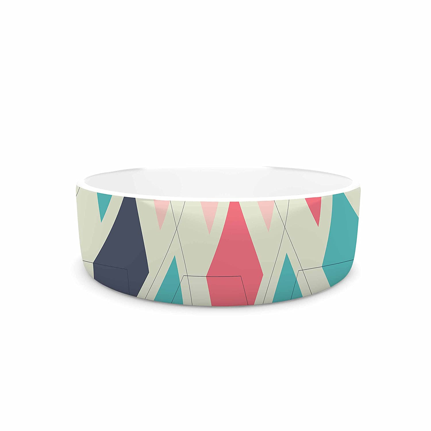 KESS InHouse Neelam Kaur Modern Retro Pink bluee Digital Pet Bowl, 4.75  Diameter