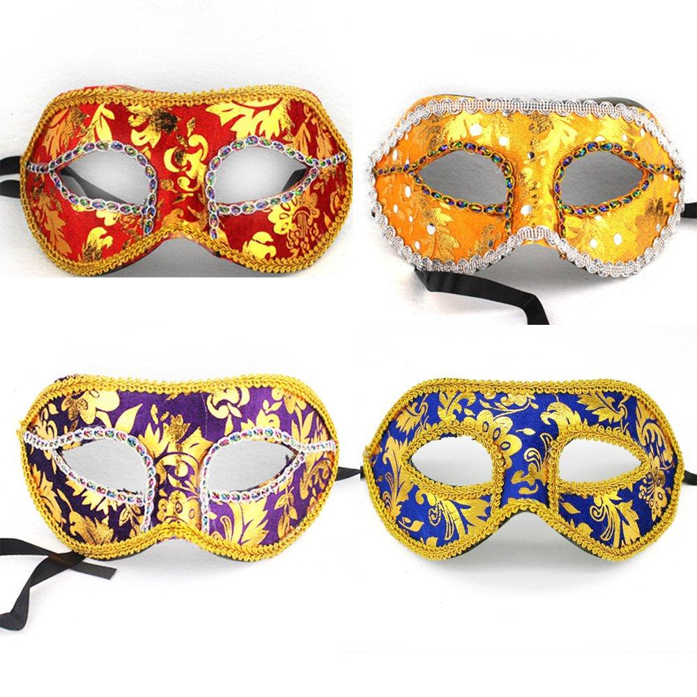Baanuse 4pcs Hommes Vénitien Masque de Mascarade Partie des Yeux Masque B product image