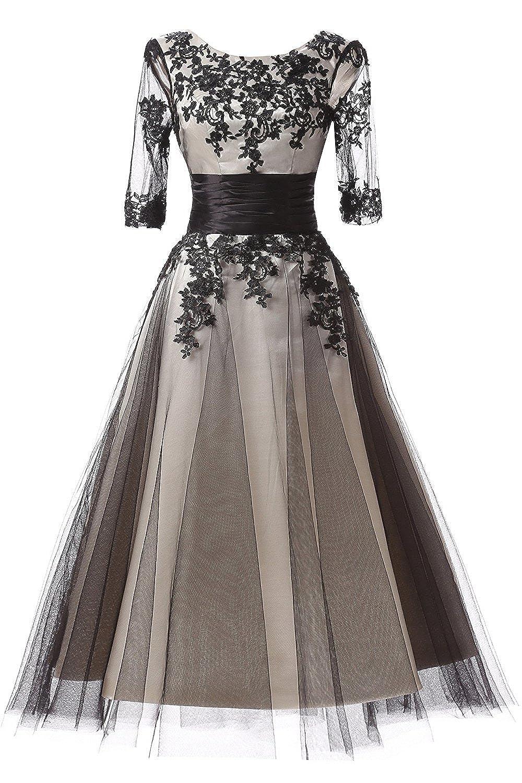 Black(scoop Neck) Snowskite Women's Black Lace Applique Tulle Long Formal Evening Dress