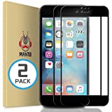 MANTO 2-Pack Screen Protector for iPhone SE(2020) 8 7 6S 6 Full Coverage Tempered Glass Screen Protector Film Edge to Edge Pr