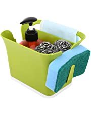 Nuovoware Kitchen Utensil Holder, Flatware Caddy Plastic Utensil Container Cutlery Organizer Drying Napkin Holder with Fine Mesh and Base Plate for Kitchen Countertop - Green
