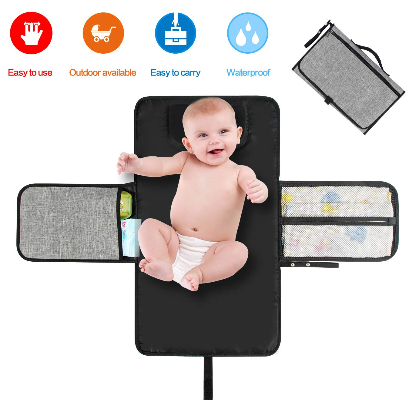 Portable Changing Mat Baby Waterproof Diapers Changing Pad Kit with Pockets Lightweight Travel Home Changing Diaper Pad Bag with Head Cushion for Toddlers Infants and Newborns - Baby Shower Gift