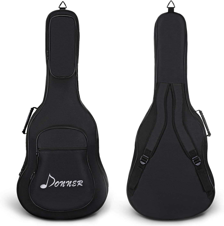 Donner Funda para Guitarra Acústica de 41 Pulgadas Bolsa Resistente al Agua Negro