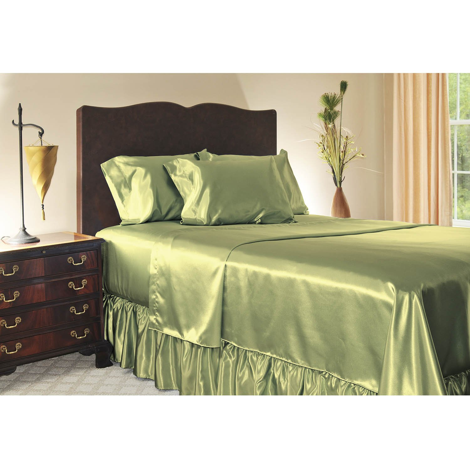 Sage Sweet Dreams Luxury Satin Pillowcase with Zipper, Queen