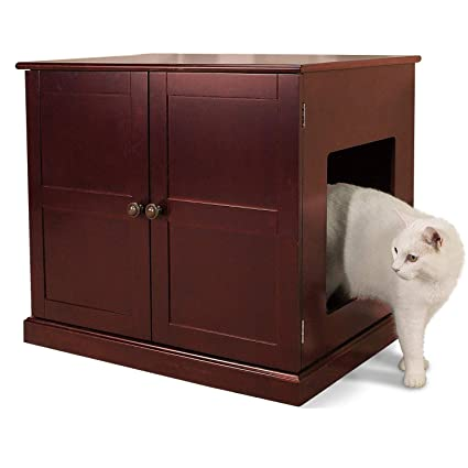 Amazon Com Meow Town Concord Cat Litter Cabinet Mahogany Finished