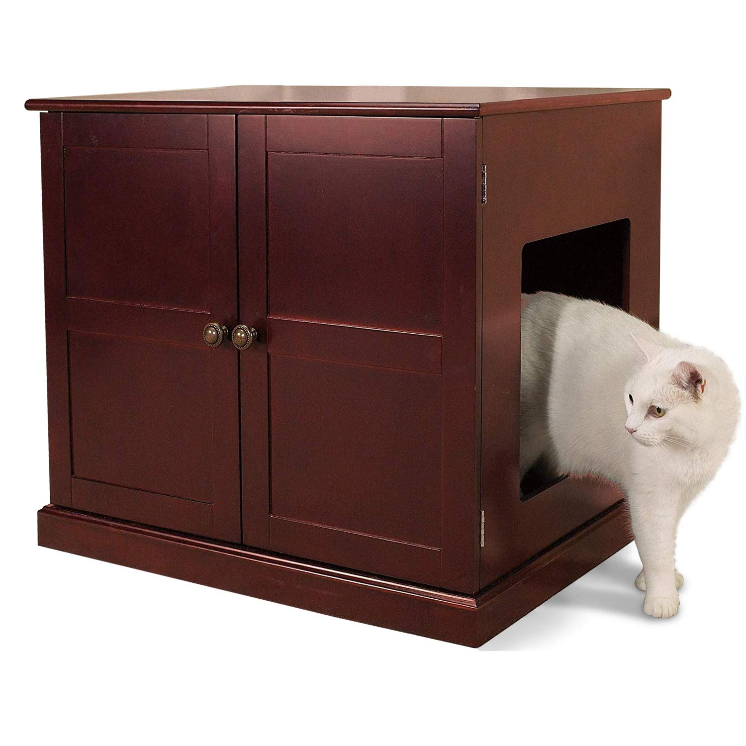 Meow Town Concord Cat Litter Cabinet, Mahogany-Finished Cat Litter Concealer