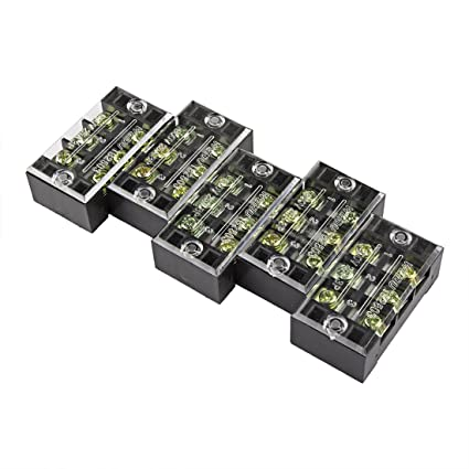 Terminals & Kits uxcell 5Pcs TB-2510 600V 25A 10P Dual Rows 10 Position Wire Terminal Block Connector