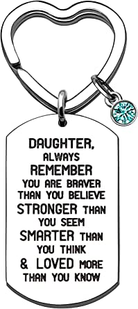 Weforu Daughter Keyring with Acrylic Rhinestones, Inspirational Daughter Gifts from Mum Dad Stainless Steel Dog Tags Crystal Keychain Rings