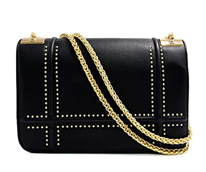 55661fe07f5 CRAZYCHIC - Women s Gold Studs Rivets Crossbody Bag - Chains Shoulder Strap  Handbag - Faux PU